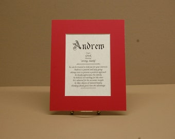 Name origin and meaning in 8x10 size on parchment paper with red mat.