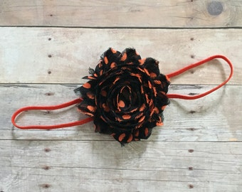 Halloween Headband, Baby Girl Headband, Orange & Black polka dot Headband, Newborn Headband, Toddler Headband, Holiday Headband