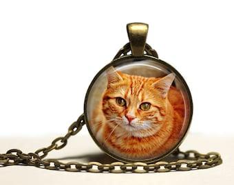 Animal jewelry Orange Cat pendant Kitty necklace