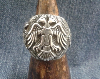 Vintage Sterling Silver Turkish Ring with Double-headed Eagle