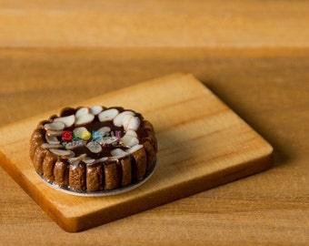 Dollhouse Miniatures Chocolate Almond Tart