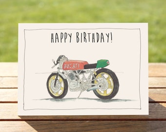 """Motorcycle Birthday Card -  Retro Cafe Racer   A6 - 6"""" x 4""""  / 103mm x 147mm    Red Envelope   Motorbike Gift Card, Motorcycle Gift Card"""