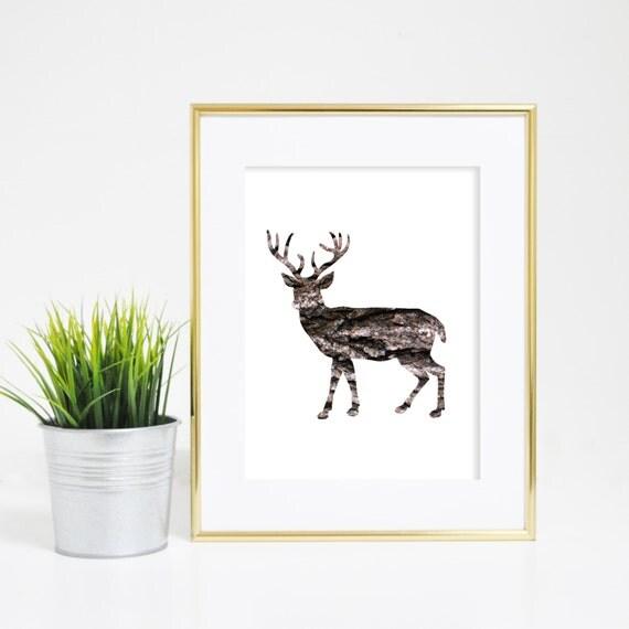 Deer Art Print, Bark Deer, Rustic Deer, Wall Art, Deer Art, Deer Printables, Deer Wall Print, Digital Wall Art Nursery Animal Art, Art Print