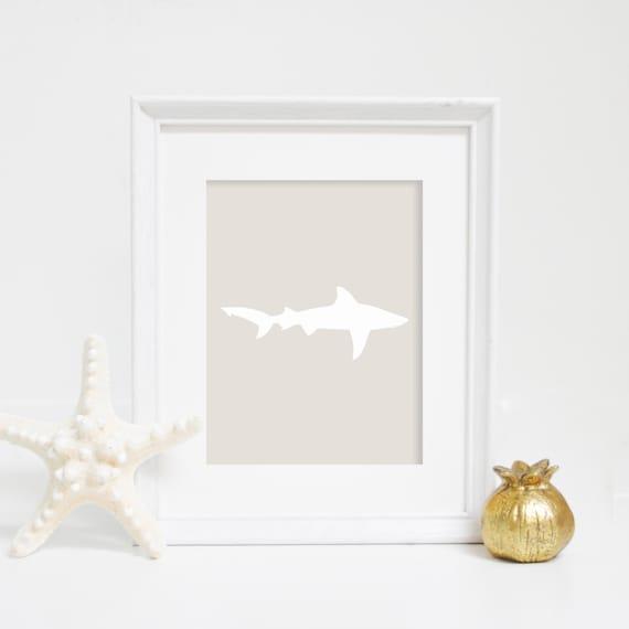 Neutral Print, Ocean Print, Shark Print, Ocean Wall Art, Beach Print, Shark Art, Wall Art, Nautical Decor, Nautical Prints, Shark Wall Art