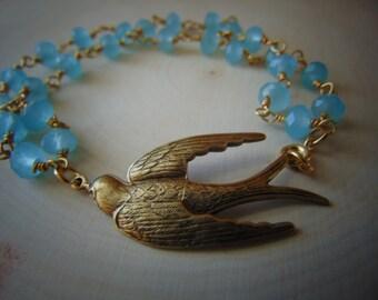 20% Off Any Order BrassBird and BeAquamarine Beaded Bracelet. Gift for Her