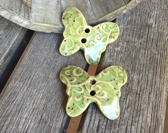Pair of Green Ceramic Butterfly Buttons | Stoneware buttons | Pottery Buttons | Butterfly Button Accent for knit ware, craft projects