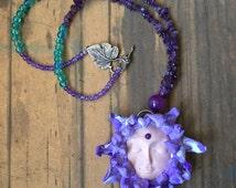 Lotus Flower Goddess- Polymer Clay Pendant- Amethyst Necklace- Goddess Necklace- Lakshmi- Purple Accessories- Lotus Necklace