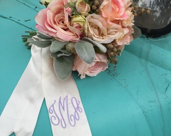 Custom Monogrammed Bouquet ribbon/sash- Bride - Bridesmaid