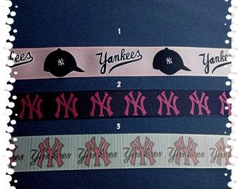 1 Inch Wide Custom Made Adjustable Girls NY Yankees Grosgrain Dog Collar
