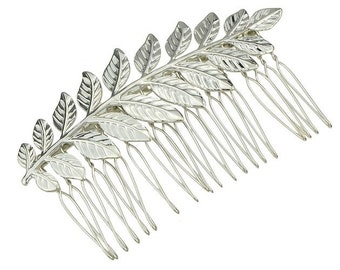 Silver Leaf Hair Comb. Bridal Hair Comb, Leaf Headpiece, Wedding Hair Accessory, Woodland Hair Accessory, Silver Leaf Hair Comb
