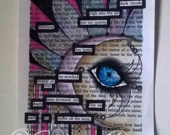 Hidden Poetry 001 Ooak original art black out poetry