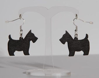 Scottie Dog Earrings - Westie Dog Earrings - White Westie Dog -Hand Painted Wooden Dog Earrings - Black Scottie Dog Earings - Dog Earrings