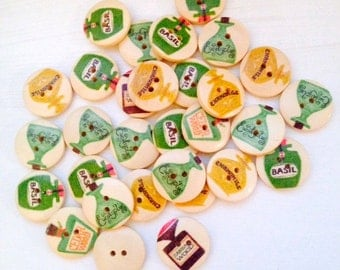 30 pcs Wooden Buttons, Mixed Pattern, Potion Herb Wood Buttons, 20 mm Buttons, 2 Holes, Bout 064