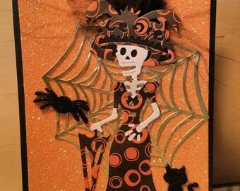 Miss Skeleton with Orange Circle Costume Card