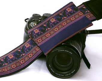 Camera Strap with lens pocket. Lucky Elephants Camera Strap. SLR, dSLR Camera Strap. Canon, Nikon Camera Strap. Fashions Accessories. Gifts
