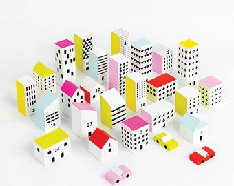Paper City - 3D Paper Craft Kit, Make 24 little houses with lids, for party decor, party favor boxes and paper toys