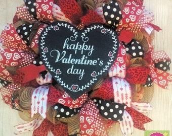 Valentine Burlap Wreath, Valentine's Day Burlap Wreath, Happy Valentines Day Wreath, Valentines Decoration, Valentine Gift, Valentine Wreath