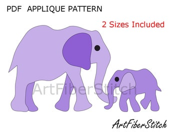 Elephants PDF Applique Template Pattern - available for instant download from ArtFiberStitch
