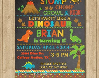Dinosaur Invitation, Dinosaur Birthday Invitation, Dinosaur Chalkboard Invitation