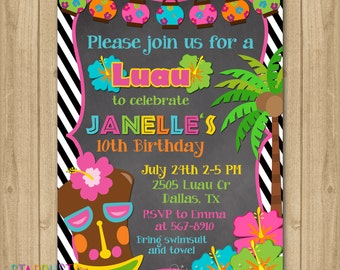 Luau Birthday Invitation, Luau Party Invitation, Luau Invitation, Hawaiian Birthday Invitation, Hawaiian Invitation