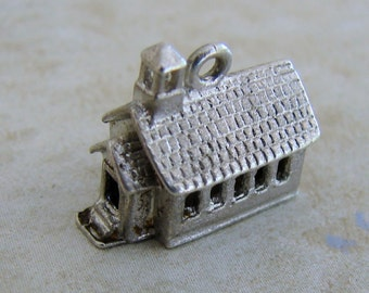 Old Fashioned School or Church Vintage Sterling Silver Bracelet Charm JMF