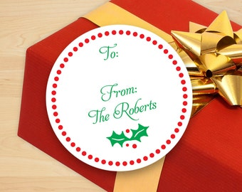 Personalized Holly Holiday Gift Stickers