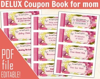 PRINTABLE Coupons for mom, Last minute Gift for Mom coupon, printable coupon Book for mom,Personalized Gift for mom