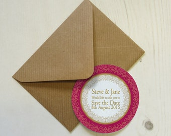 Set of 12+ Personalised Save the Date Magnets with Envelopes - Festive India