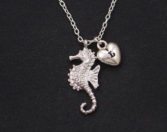 initial necklace, seahorse necklace, silver seahorse pendant , long necklace option, nautical charm, sea necklace, girl gift