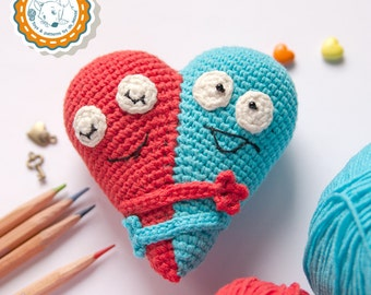 PATTERN -Double Heart - crochet pattern, amigurumi pattern, Valentine's Day Decor, pdf - Instant Download