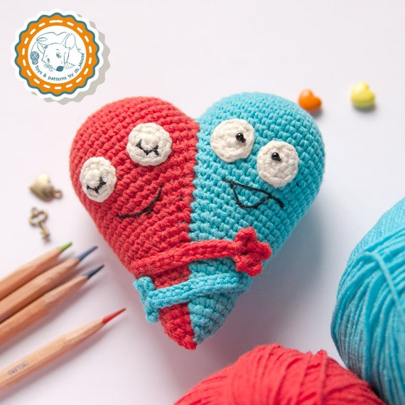 Amigurumi Heart Tutorial : PATTERN Double Heart crochet pattern amigurumi pattern