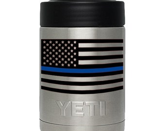 Thin Blue Line American Flag Decal for Yeti & RTIC Tumbler, Colster, and Lowball