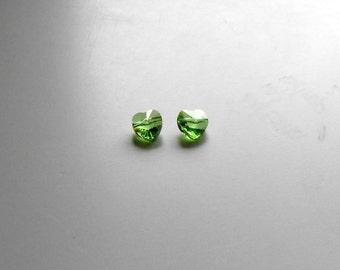2 PERIDOT Swarovski Crystal Heart Beads, 8 mm Crystal Heart Bead, Beads, Supplies, Jewelry Supplies, Bead Supplies, Jewelry Making