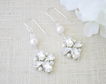 Vintage style bridal earring, Swarovski rhinestone and pearl wedding earring, Crystal and pearl dangle earring