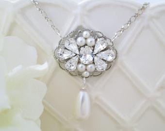 Wedding necklace, Vintage style pendant necklace, Swarovski crystal and pearl bridal necklace