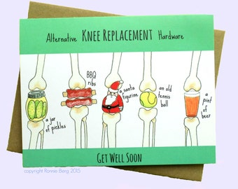 Knee Replacement, Funny Get Well Card, Knee Surgery Card, Funny Knee Card, Get Well Knee, Knee Arthroplasty, Knee Arthroplasty Get Well