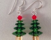Swarovski Crystal Christmas Tree Earrings Sterling Silver