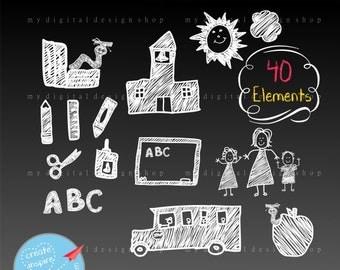 Back To School Clipart, Vector EPS, PNG Image, Hand Drawn in Chalk, Chalkboard Scrapbooking Bookworm, School Bus, Teacher Students |C059