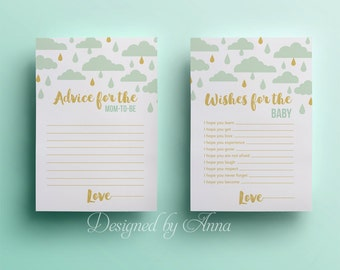 Rain clouds wishes for the baby card baby shower printable game instant download mint and gold advice for mom shower party printable shower