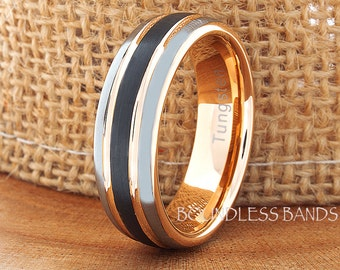 Tungsten Wedding Ring Band Black And Rose Ring Comfort Fit Band 7mm His Hers Two Tone Anniversary Promise Engagement Matching Band Mans Ring