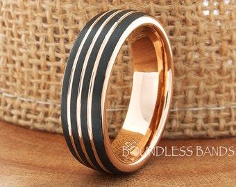 Tungsten Wedding Ring Black Rose Triple Grooved Brushed Tungsten Wedding Band Anniversary Ring Promise Ring Comfort Fit FREE Laser Engraving