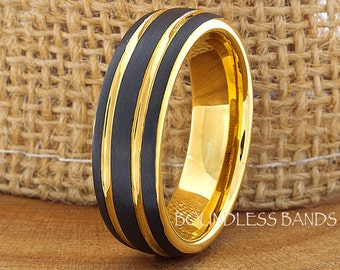 Tungsten Wedding Ring Black Yellow Gold Plated Two Tone Tungsten Wedding Band Anniversary Ring Promise Ring Comfort Fit FREE Laser Engraving