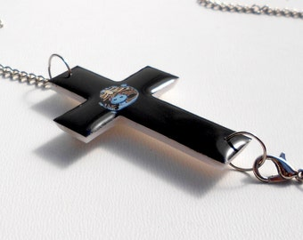 Free shipping Necklace crucifix Black crucifix, crucifix clay, cross clay, chain and pendant necklace present gift. Sideways Cross.