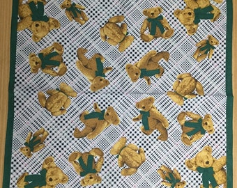 Vintage handkerchief Teddy Bear with green bow