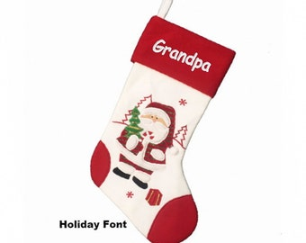 Personalized Holiday Santa Christmas Stocking