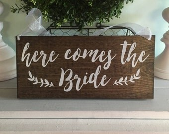 Here comes the Bride - Here comes the Bride sign - custom wood sign - custom wedding signs - custom wedding signage - 01