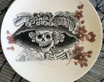 La Catrina Dia De Los Muertos Altered Decorative Plate