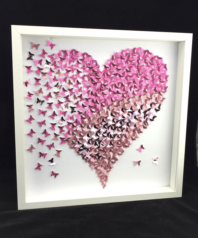 Paper Butterfly 3d Butterfly Wall Art Butterfly Heart