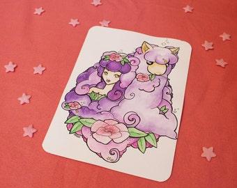 ORIGINAL - Lady of Alpacas (Watercolor and Ink)