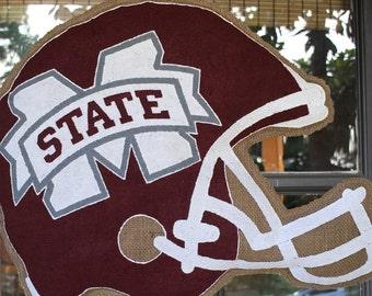 Mississippi State Football Helmet Burlap Door Hanger